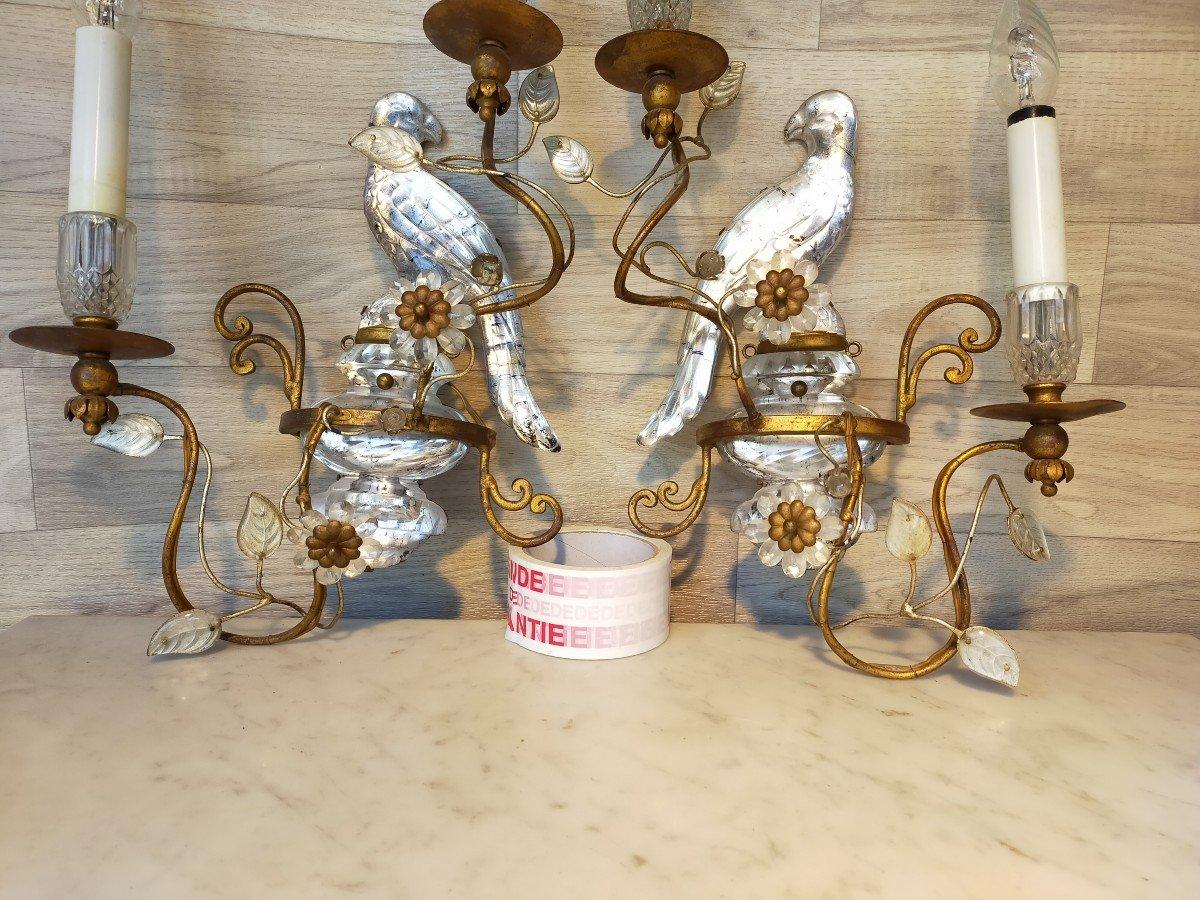 Paire d'Appliques Aux Perroquets Maison Bagues -photo-2