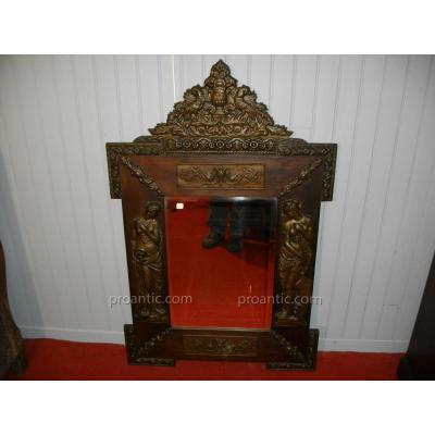 Grand Miroir Bronze Décor Femme Antique Napoléon III
