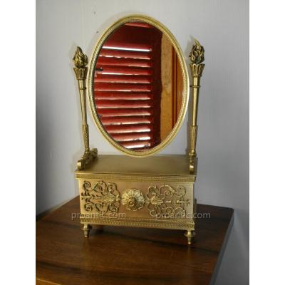 Psyché De Table Bronze Doré Miroir époque XIX ème