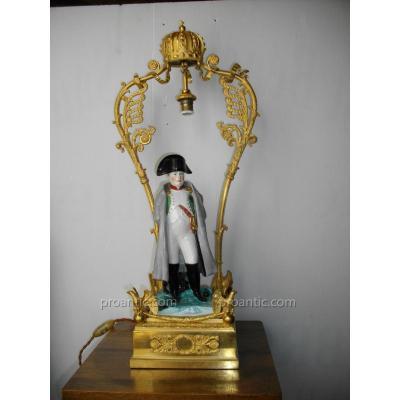 Grande Lampe Napoléon Bronze Doré Porte Montre
