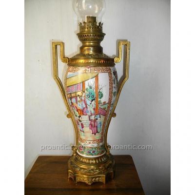 Grande Lampe Porcelaine Chine Et Bronze Canton 19ème