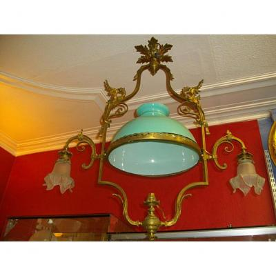 Lustre En Bronze A Décor De Dragon Gothique XIXème