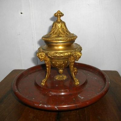 F Barbedienne Encrier Bronze A Tete De Belier