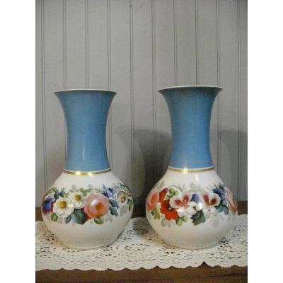 Paire De Vases Porcelaine Paris XIXème