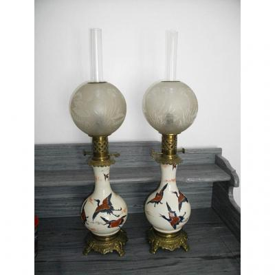 Pair Of Large Lamps Petrole XIXth Japanese
