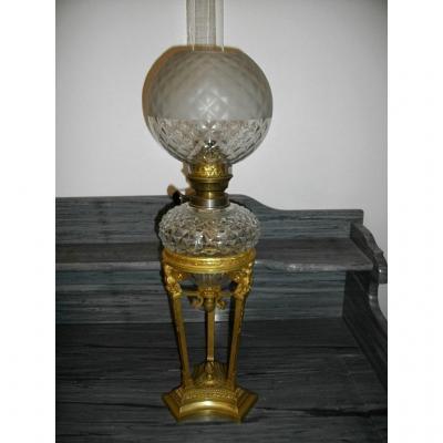 Grande Lampe Pétrole Cristal Taillé Et Bronze XIXème