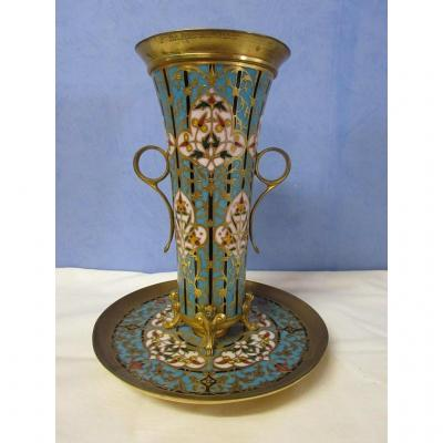 Large Vase Cup Bronze Signed Barbedienne In Enamels
