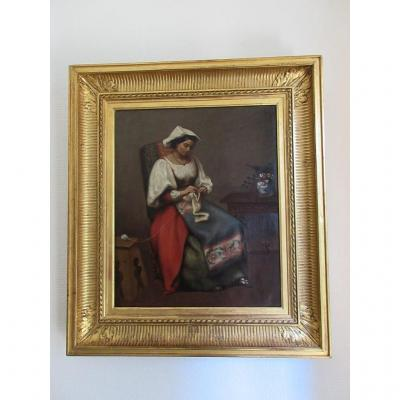 Edouard Charles Brongniart Jeunne Femme Tricotant