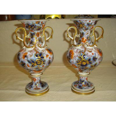 Paire De Vase Porcelaine De Bayeux