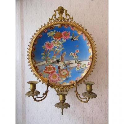 Applique Bougeoir Mural Bronze Et Faience