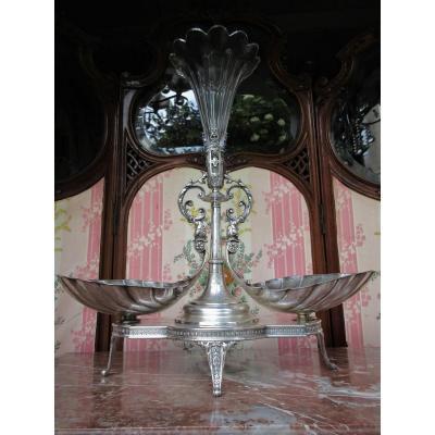 Surtout Centre De Table Avec Vase Solifleur Cristal XIXème