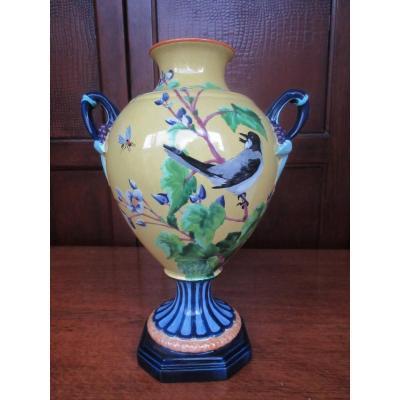 Vase Creil Montereau Décor d'Oiseau Abeille XIXème