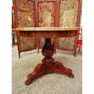 Table Pedestal Mahogany And Marble Claw Feet