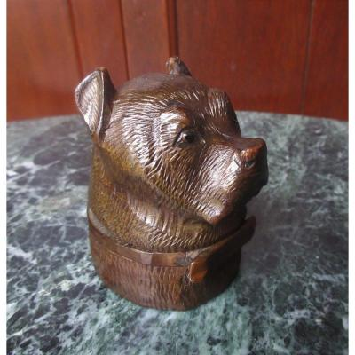 Inkwell Carved Wood Dog Head Work Black Drill