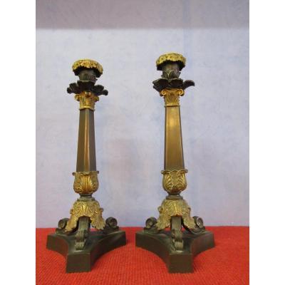 Paire De Bougeoirs Bronze Fut Triangulaire XIXème