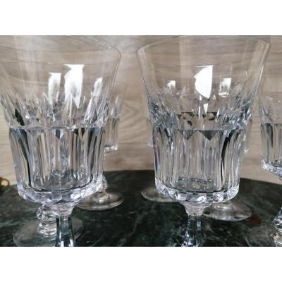10 Crystal Baccarat Wine Glasses