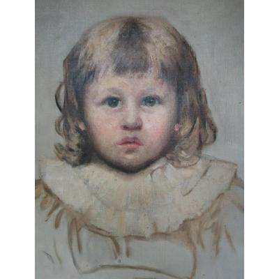 Barbara Mackay Portrait Young Girl Oil On Canvas