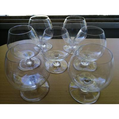 Seven Baccarat Crystal Wine Glasses