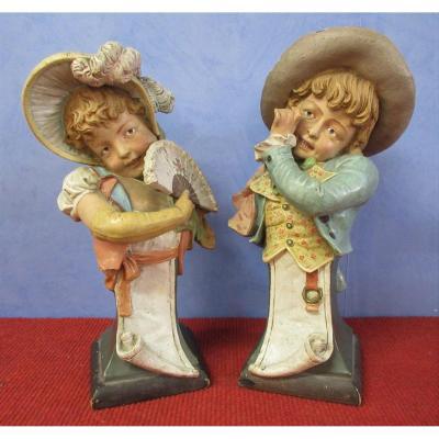 sculpture en terre cuite couple d'enfants