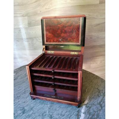Napoleon III Cigar Humidor Ivory Marquetry