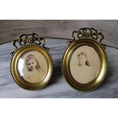 Alphonse Giroux Two Louis XVI Frames In Gilt Bronze For Miniature