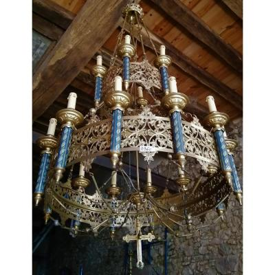 Grand Lustre Gothique Néogothique En Bronze église Chapelle