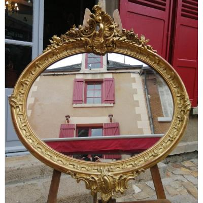 Louis XV Oval Mirror In Golden Wood