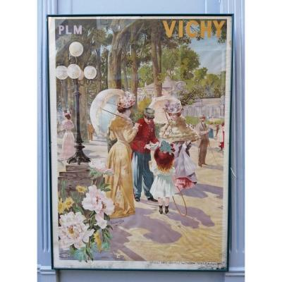 Affiche  Plm Vichy Chemin De Fer Parc Des Sources 1900