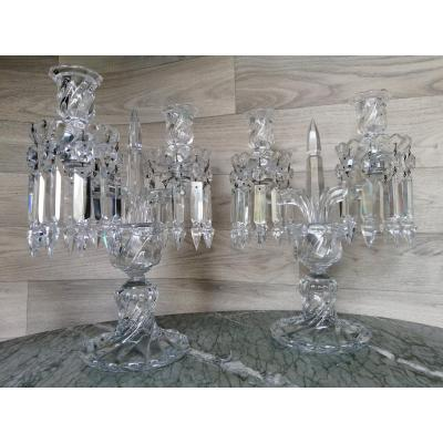 Pair Of Candlesticks Baccarat Crystal Candlesticks