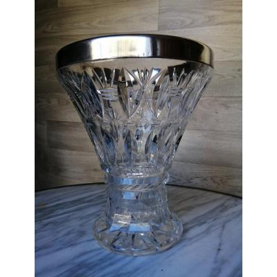 Large Crystal And Sterling Silver Vase Saint Louis Baccarat