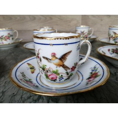 Porcelain Coffee Cup Service Decor Parrots And Butterflies (sèvres Paris)