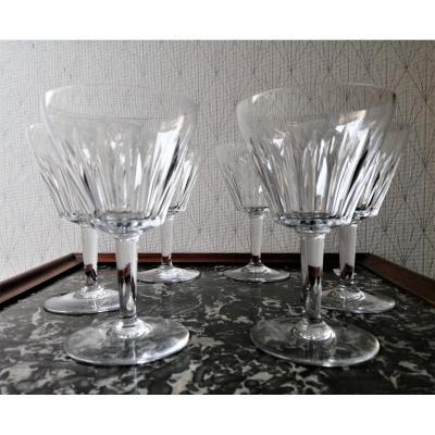 Six Baccarat Crystal Water Glasses Service