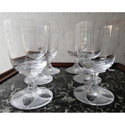 Set Of Six Crystal Water Glasses From Lalique Valençay Model