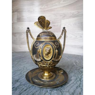 Covered Pot In Bronze Art Nouveau Barbedienne