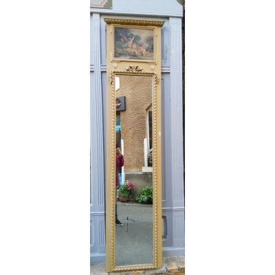 Grand Miroir Trumeau de boiserie 2m50  Décor d'Angelots  Louis XVI