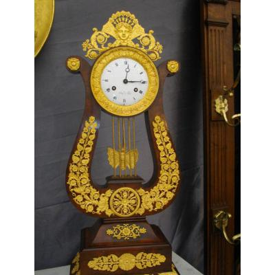 Mahogany Gilt Bronze Lyre Clock 19th