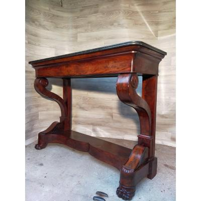 Flamed Mahogany Console With Claw Feet