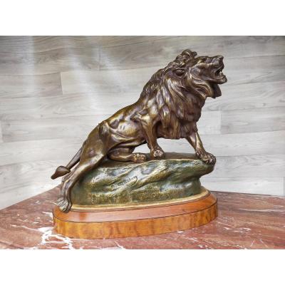 Le Lion Blessé  Bronze Clovis Edmond Masson XIXème élève De Barye