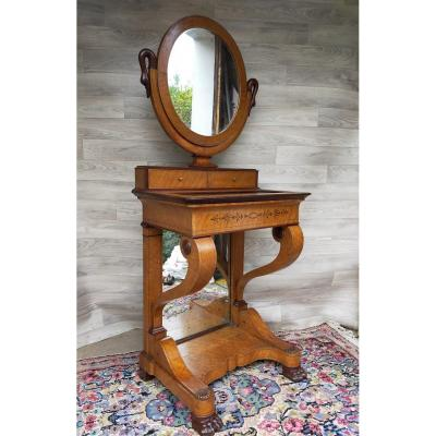 Charles X Dressing Table With Interior Writing Desk And Psyche Mirror (desk, Secretary, Console)