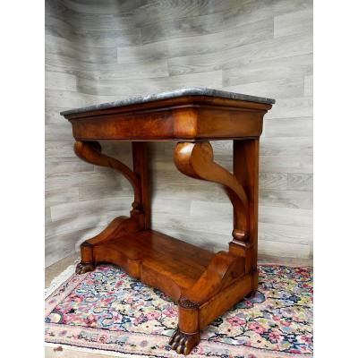 Console In Solid Walnut Marble Top Claw Feet