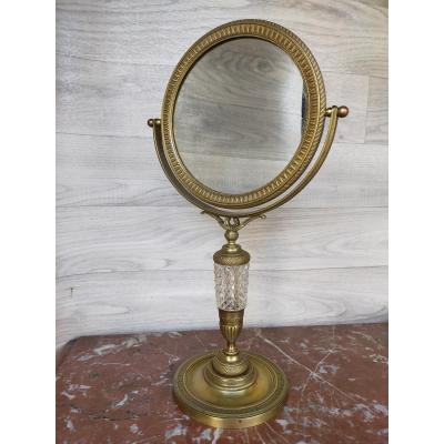 Miroir De Table Psyché En Bronze Doré et cristal époque Restauration