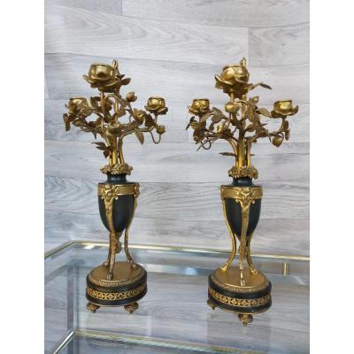 Paire De Bougeoirs Chandeliers En Bronze Doré  henri dasson ?