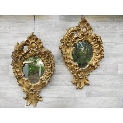 Paire De Miroirs Vénitien XVIIIème Bois Doré