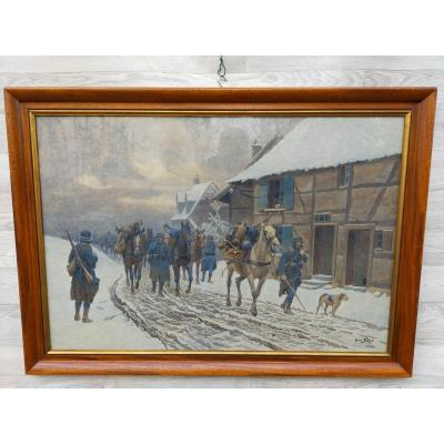 Henri Baud The Soldiers Of War 14/18 On The Way (military Army)