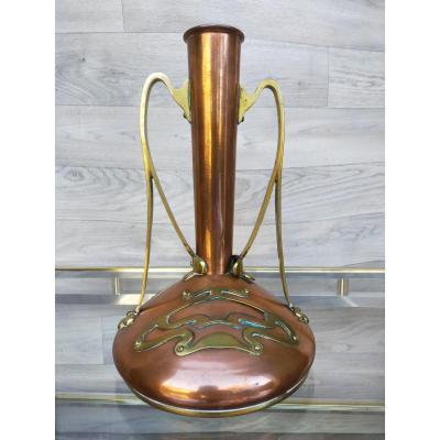 Vase Art Nouveau En Cuivre Arts And Crafts  Wmf