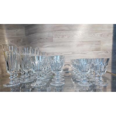 Crystal Service From Saint Louis Flutes, Water And Wine Glasses