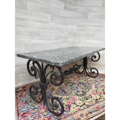 Wrought Iron Coffee Table Top Of Veined Marble