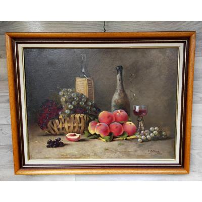 Eugène Jules Delahogue Still Life With Fruits Oriental Painter