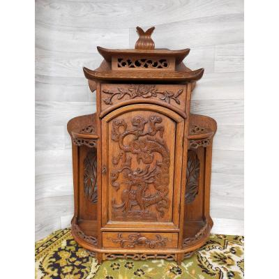 Small Asian Pagoda-shaped Wall Shelf Cabinet Dragon Decor