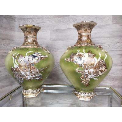 Large Pair Of Asian Satsuma Japan Vases